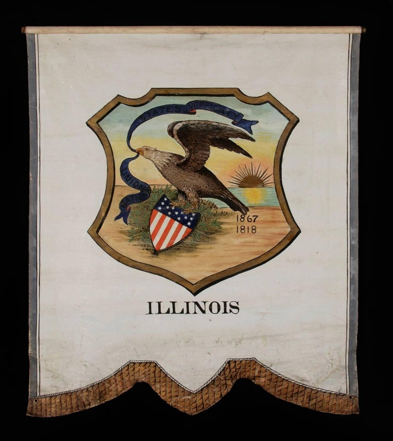 Hand-painted 19th century banner with an 1867 version of the seal of the state of Illinois, proposed in that year by the secretary of state, but in a variation never formally adopted: