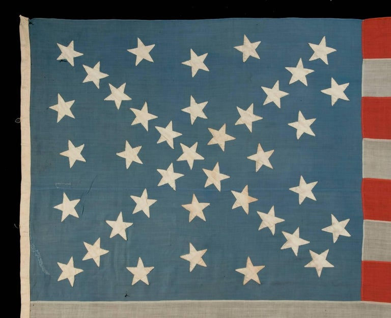 38 Stars in a Starburst Cross on an Antique American Flag, Colorado Statehood 3