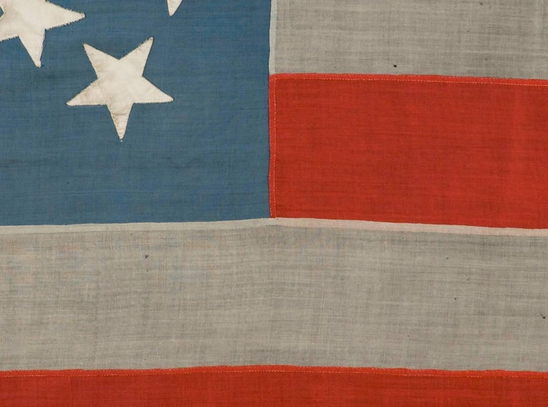 19th Century 38 Stars in a Starburst Cross on an Antique American Flag, Colorado Statehood For Sale