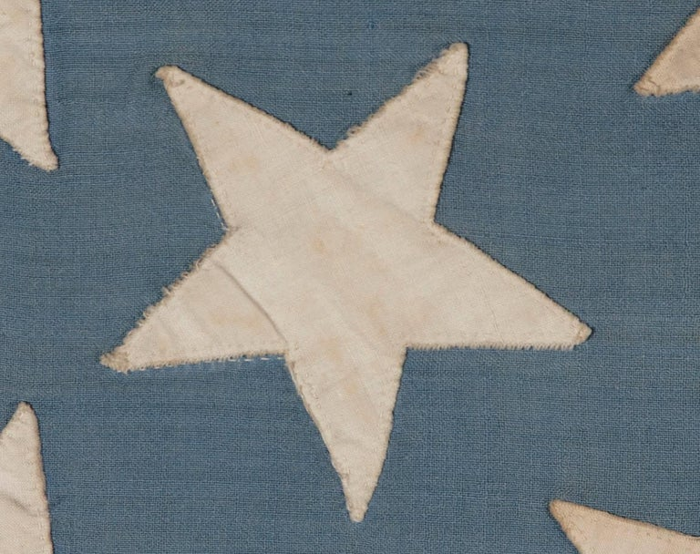 38 Stars in a Starburst Cross on an Antique American Flag, Colorado Statehood 5