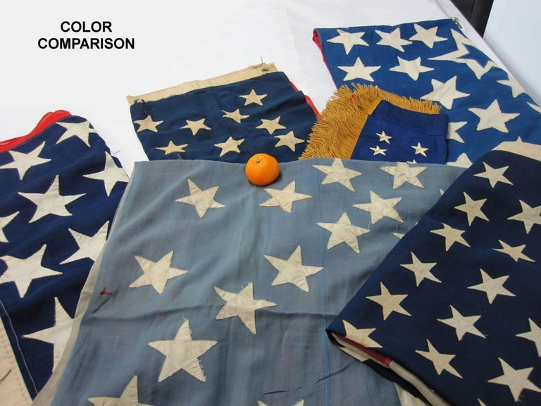 38 Stars in a Starburst Cross on an Antique American Flag, Colorado Statehood For Sale 4