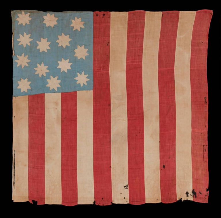 19th Century Hand-Sewn, 13 Star American National Flag with 8-Pointed Stars on Glazed Cotton For Sale