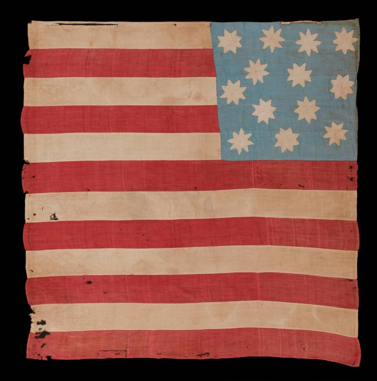 Hand-Sewn, 13 Star American National Flag with 8-Pointed Stars on Glazed Cotton For Sale 1