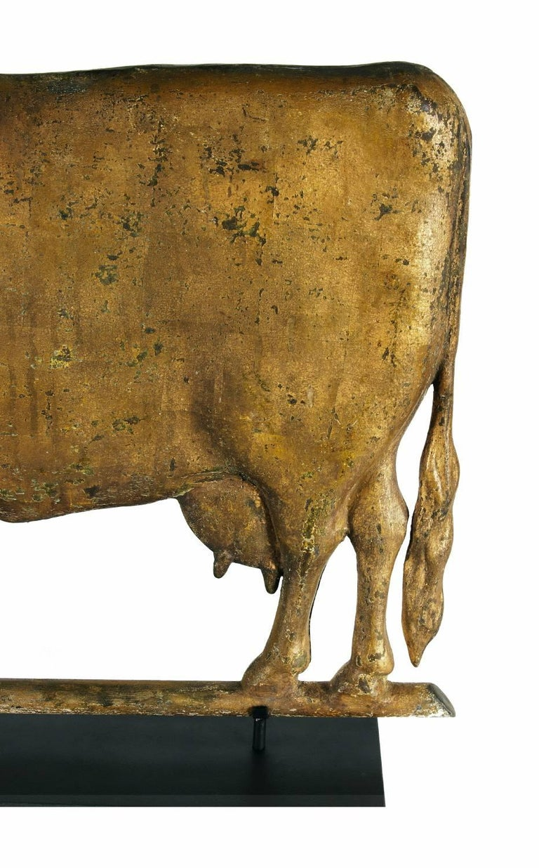 Cow Weathervane, Excellent Scale, Great Boxy Form, with Gilded Surface In Good Condition For Sale In York County, PA