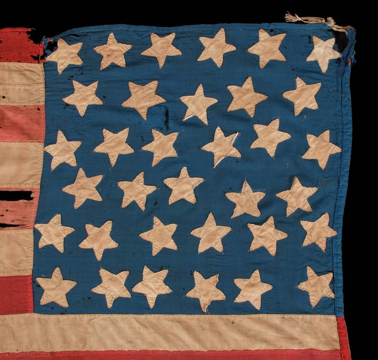 34 Star, Hand-Sewn, Homemade Antique American Flag of the Civil War Period For Sale 3