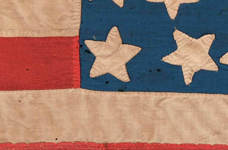 34 Star, Hand-Sewn, Homemade Antique American Flag of the Civil War Period For Sale 4