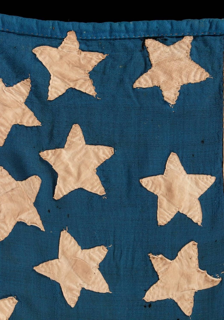 34 Star, Hand-Sewn, Homemade Antique American Flag of the Civil War Period For Sale 5