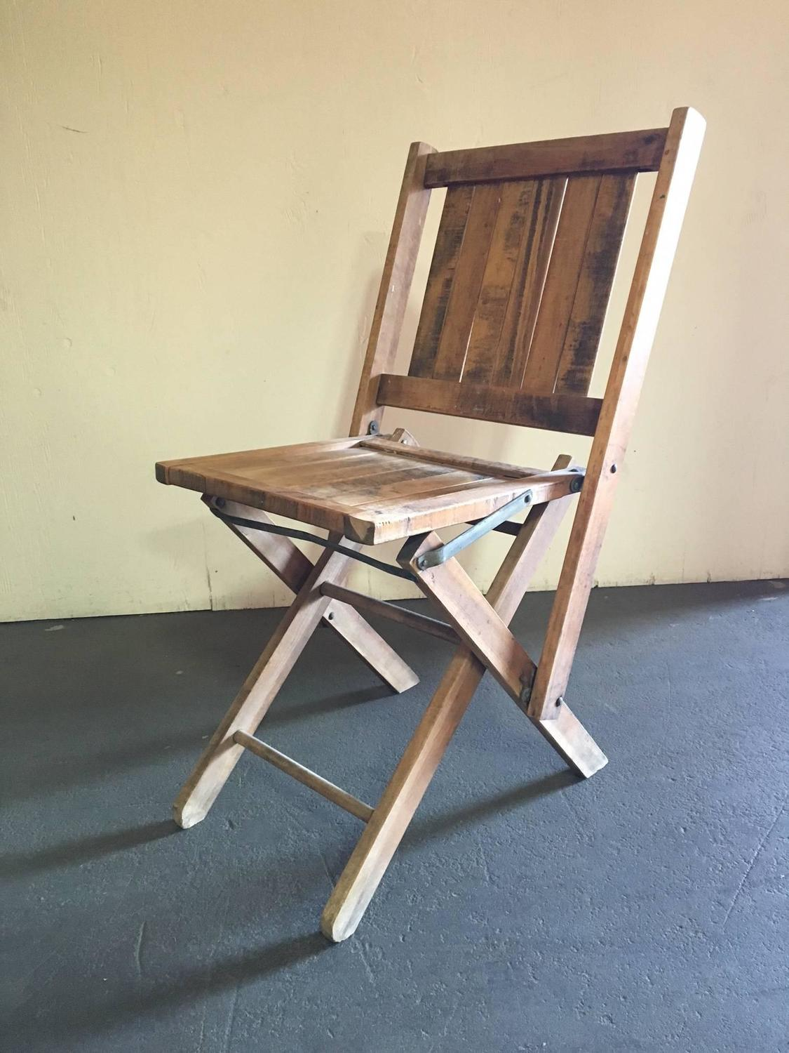 Set of Six Wood Folding Chairs For Sale at 1stdibs