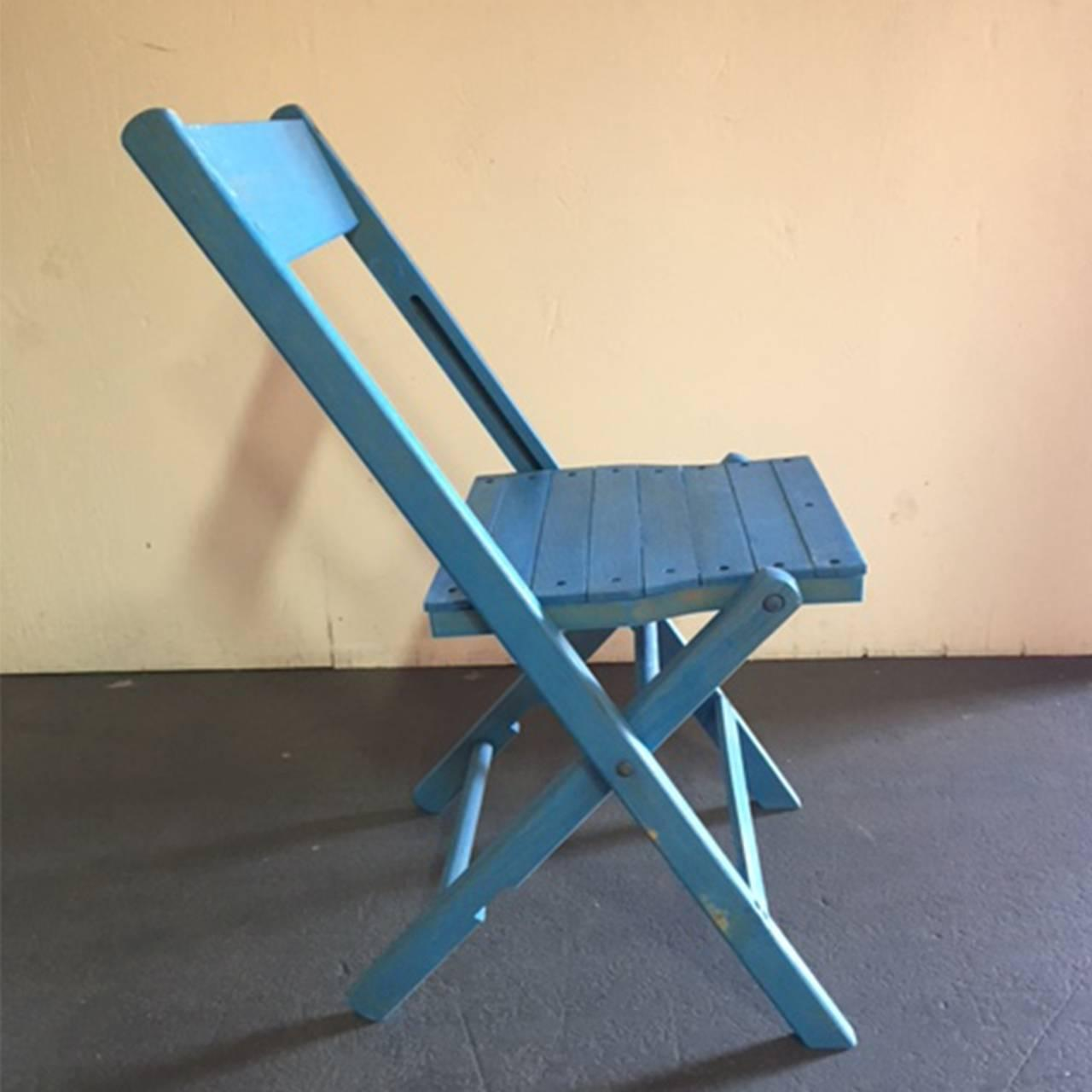 Blue Wooden Folding Chair For Sale at 1stdibs