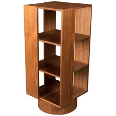 Midcentury Danish Walnut Revolving Bookshelf, Fits Records Too