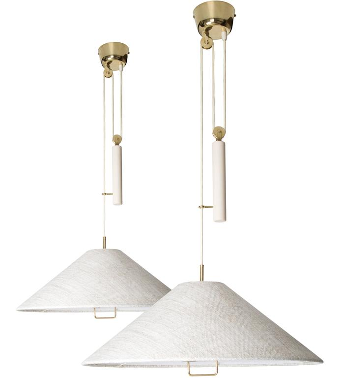 Paavo Tynell Pair of Counter Balance Lamps, Model A 1998, Taito Oy, 1940s