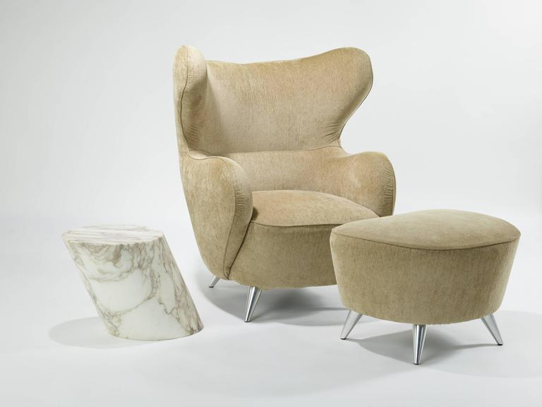 Vladimir Kagan Wing Chair and Ottoman 5