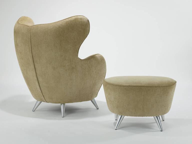 Vladimir Kagan Wing Chair and Ottoman 3
