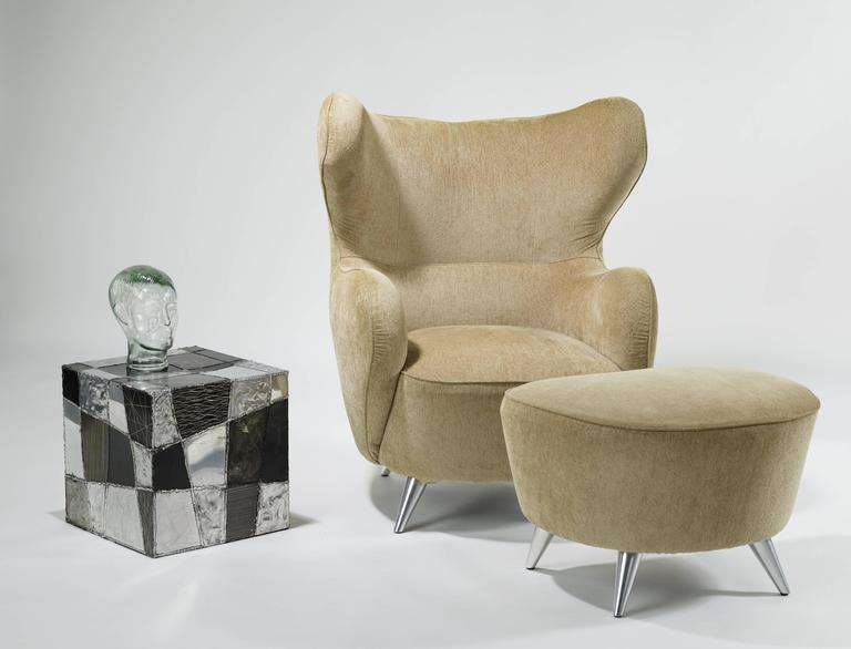 Vladimir Kagan Wing Chair and Ottoman 6