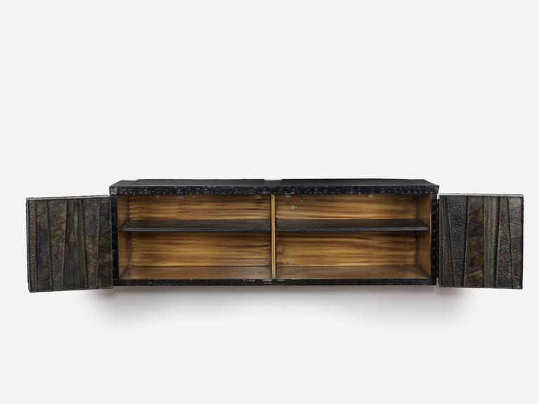 Mid-Century Modern Paul Evans Sculptural Wall Hung Cabinet, PE-42, Early Lacquered Interior, 1967 For Sale