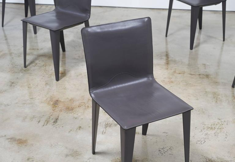 Matteo Grassi Set Of Six Italian Leather Dining Chairs At