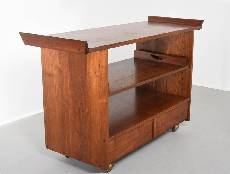 American George Nakashima Tea or Bar Cart in Walnut, 1965 For Sale
