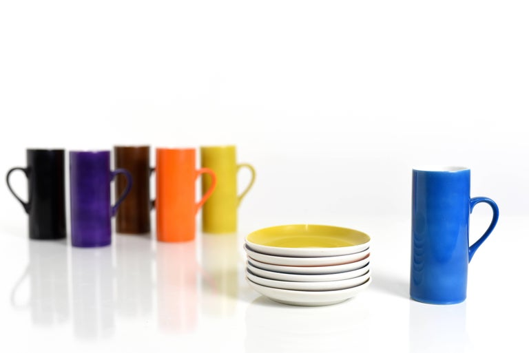 Mid-Century Modern La Gardo Tackett Set of Six Espresso / Demitasse Cups Set by Schmid, 1960s For Sale