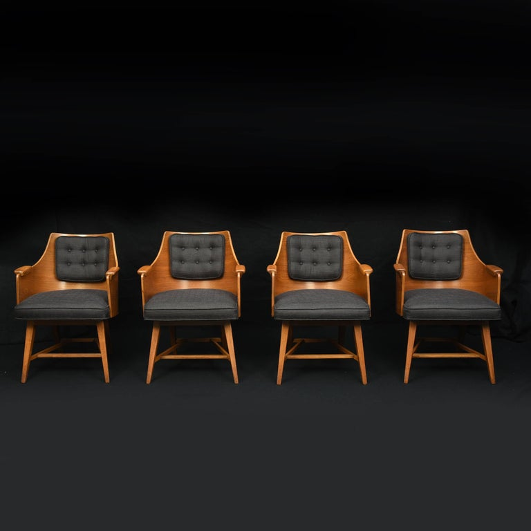 Mid-Century Modern Edward Wormley for Dunbar, Rare Set of Four Armchairs, 1950s For Sale