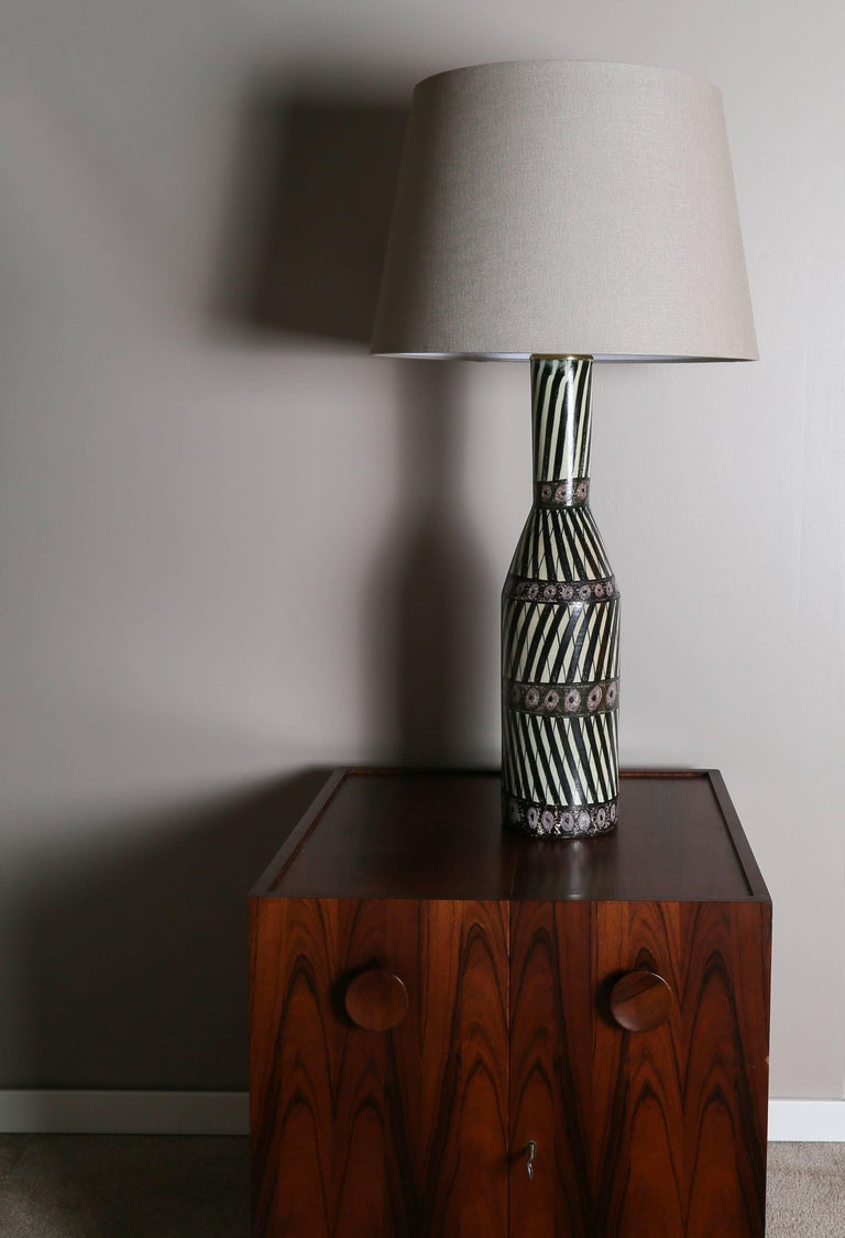 Scandinavian Modern Ceramic Table Lamp Carl-Harry Stålhane & Aune Laukkanen, Large Example, 1955 For Sale