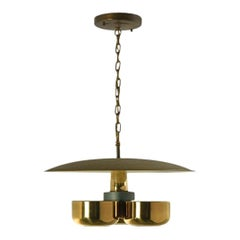 Gerald Thurston Brass Ceiling Light with Three Shades, circa 1950s