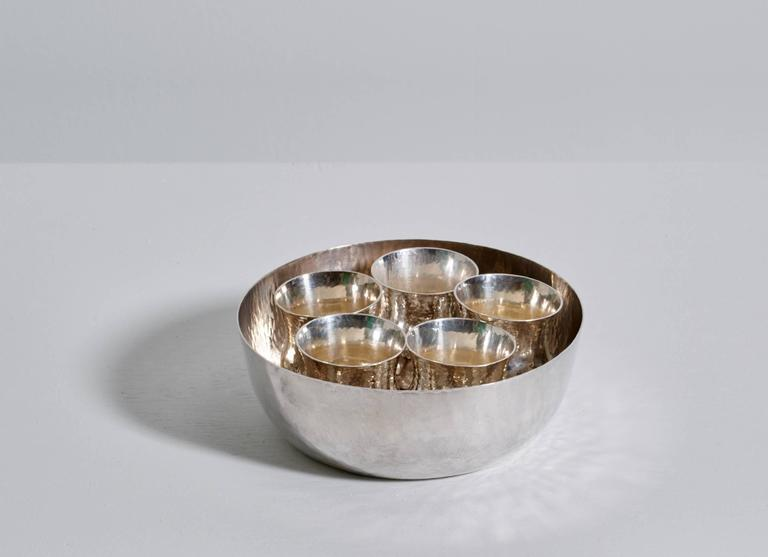 Scandinavian Modern Eric Löfman Sterling Silver Cups with Inset Bowl, Punch or Cocktail Service For Sale
