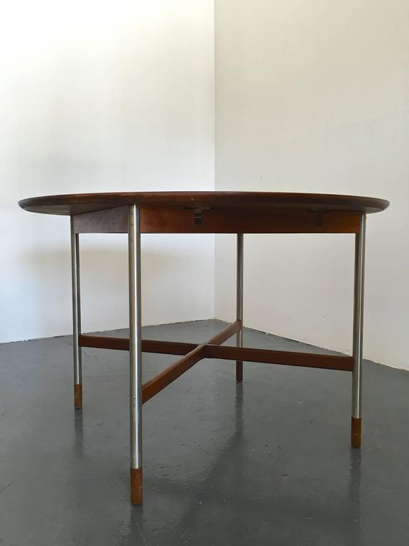 Arne Vodder Walnut Dining Table With Brushed Steel Legs