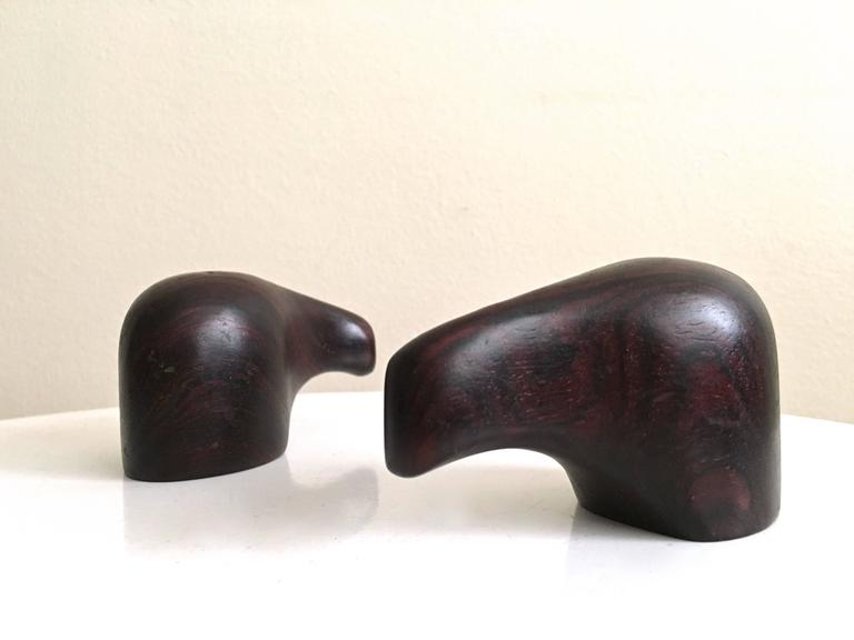 Don Shoemaker, elephant salt and pepper shakers.  Rosewood, Mexico, 1960s.  Dimensions: 2
