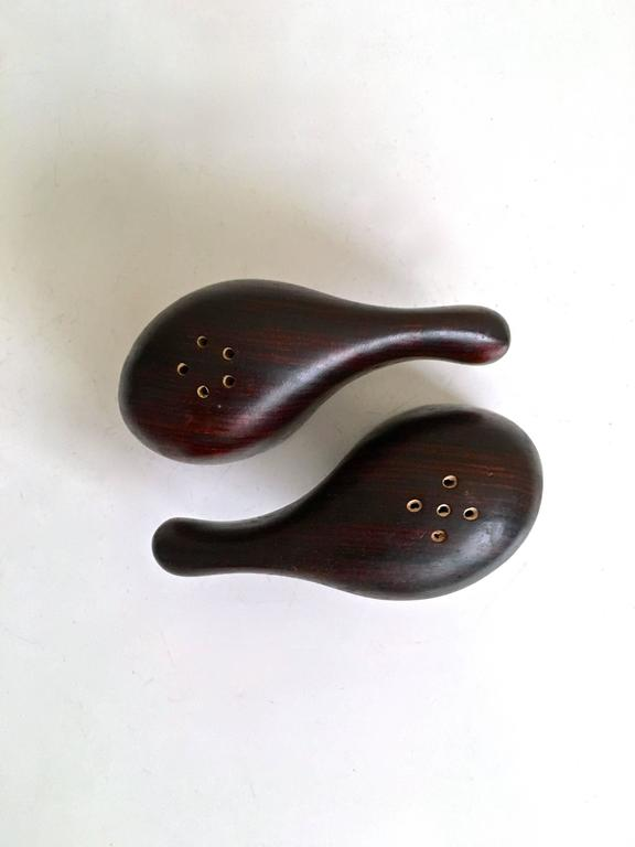 Mid-Century Modern Salt and Pepper Set by Don Shoemaker in Rosewood, 1960s For Sale
