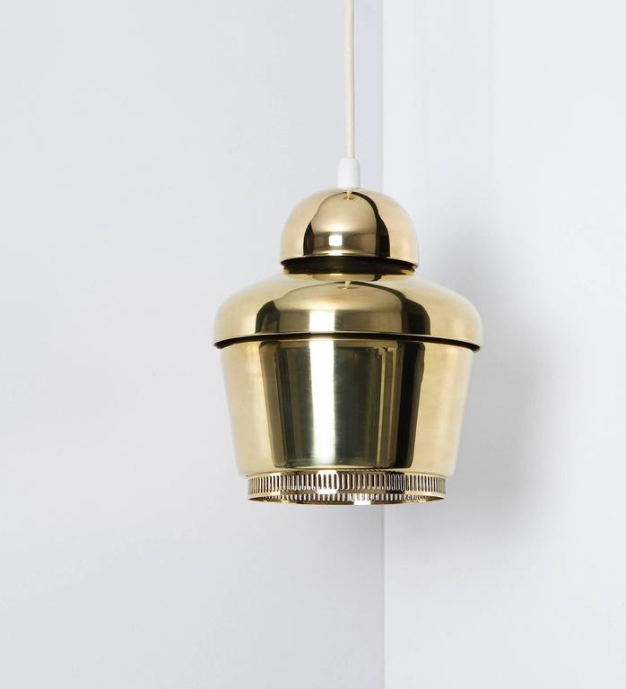 Alvar Aalto, Early Golden Bell Ceiling Lamp, Model A330, 1954 In Excellent Condition For Sale In Houston, TX