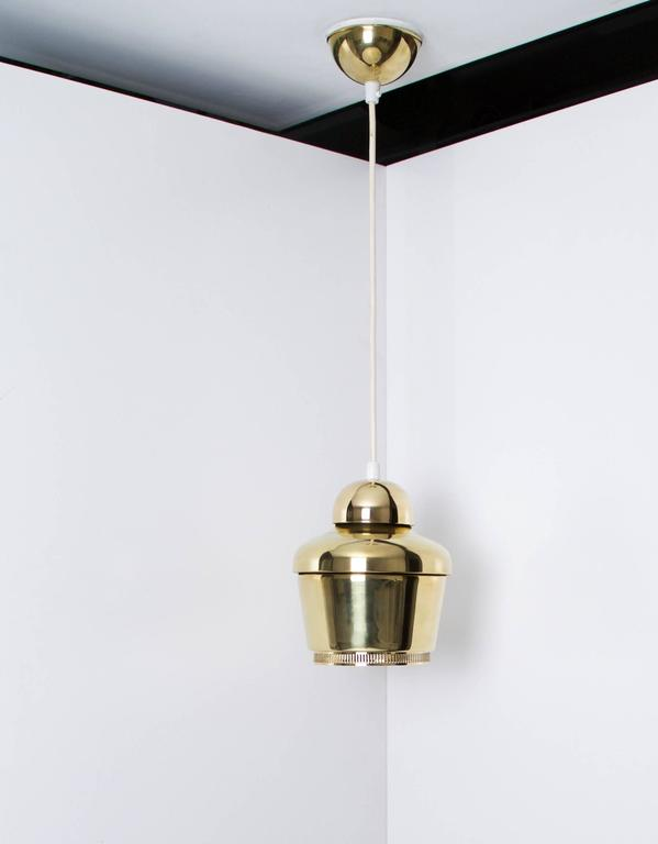 20th Century Alvar Aalto, Early Golden Bell Ceiling Lamp, Model A330, 1954 For Sale