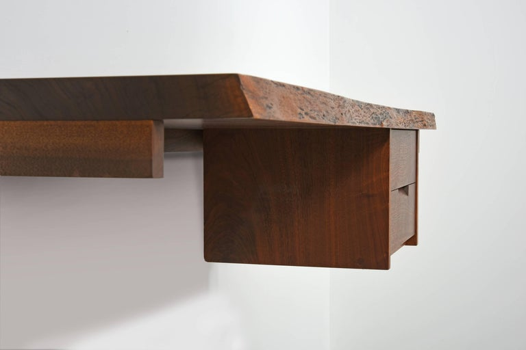 American George Nakashima Studio Walnut Wall-Mounted Desk/Shelf For Sale