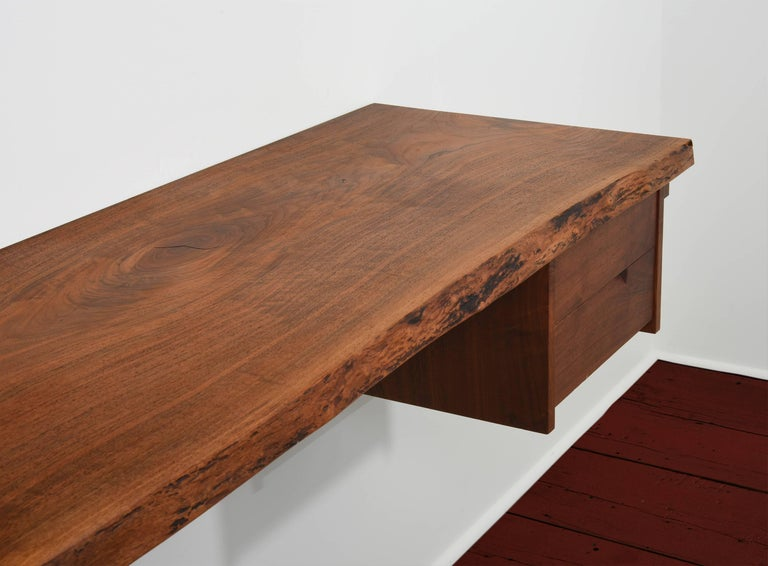 Mid-Century Modern George Nakashima Studio Walnut Wall-Mounted Desk/Shelf For Sale