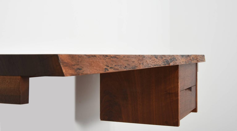 Late 20th Century George Nakashima Studio Walnut Wall-Mounted Desk/Shelf For Sale