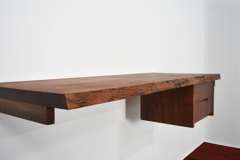 George Nakashima Studio Walnut Wall-Mounted Desk/Shelf For Sale 1