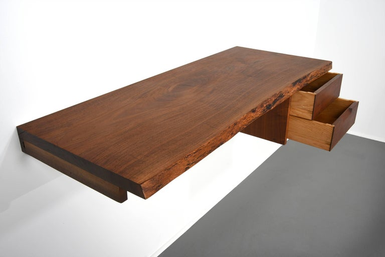 Hand-Crafted George Nakashima Studio Walnut Wall-Mounted Desk/Shelf For Sale