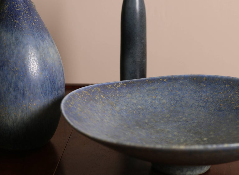 Carl-Harry Stålhane, Blue Collection of Four Vessels, Rörstrand Ab, 1950s In Good Condition For Sale In Houston, TX