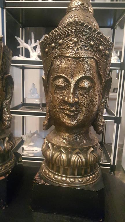 1940s Resin and Wood Buddha Lamps 2