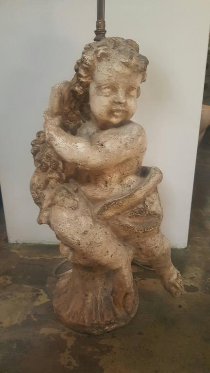 Pair of Vintage 1950s Cherub Lamps, Right and Left 2