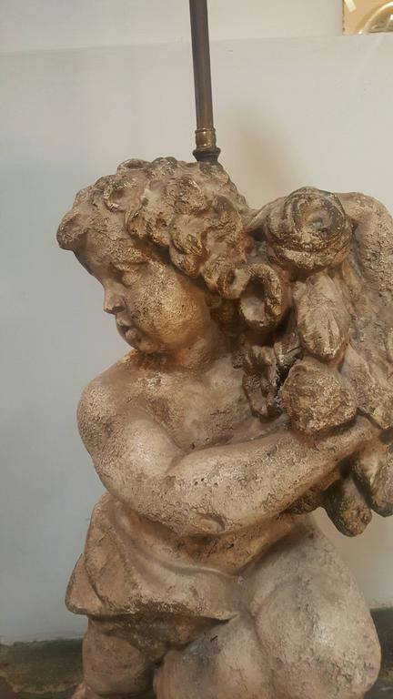 Pair of Vintage 1950s Cherub Lamps, Right and Left 7