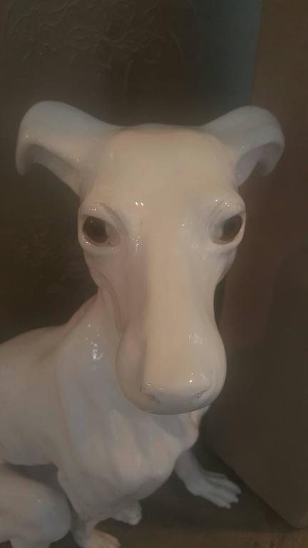 Large Italian 1940s ceramic Italian Greyhound sculpture.