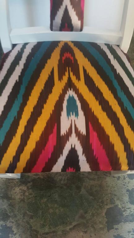 Pair of Silk Ikat Slipper Chairs in the Style of James Mont 3