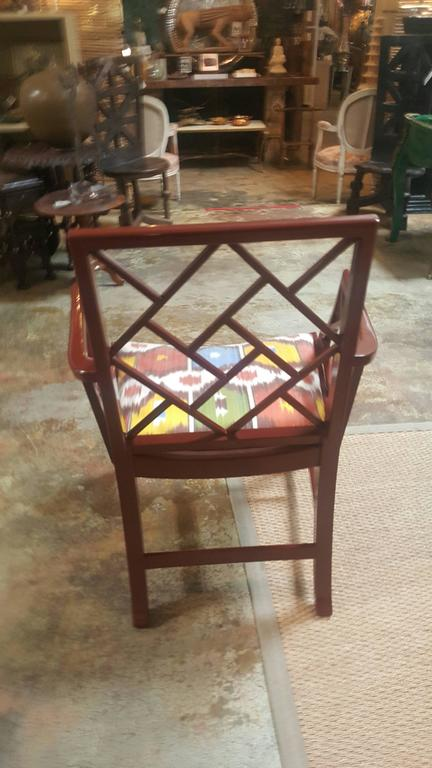Red Lacquered Chinese Chippendale Chair 2