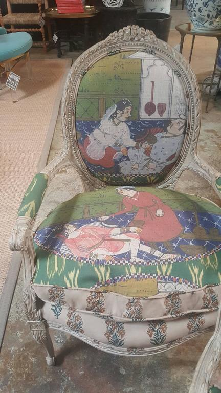 Pair of 20th Century Louis Chairs in Michelle Nussbaumer Fabric 3