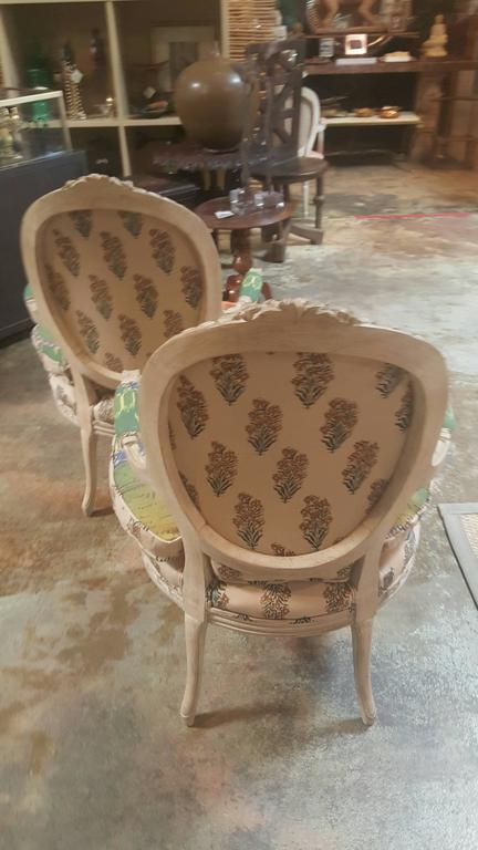 Pair of 20th Century Louis Chairs in Michelle Nussbaumer Fabric 5