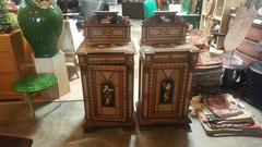 Pair of 19th C Italian Night Stands with Tortoise Foot and Angel Motif