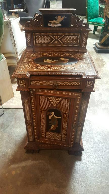 Pair of 19th Century Italian Nightstands with Tortoise Foot and Angel Motif 6