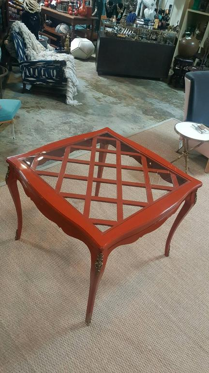 20th Century French Game Table with Red Lacquer and Glass Top For Sale