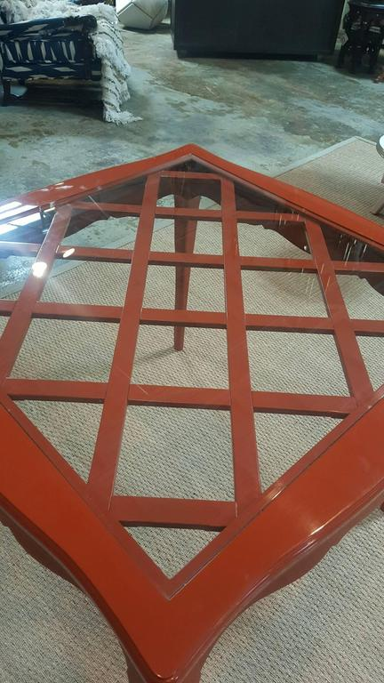 French Game Table with Red Lacquer and Glass Top For Sale 1