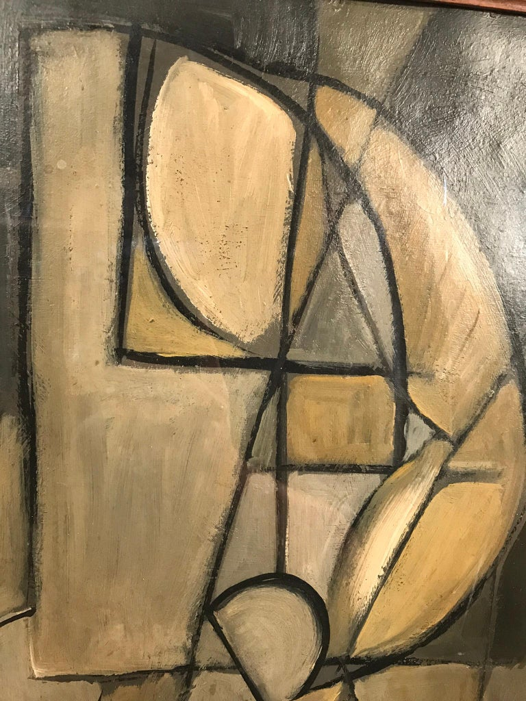 This nude done in Cubist fashion displays the female form in a simplistic way that only the creator can convey. With it's array of warm neutral colors, we get a sense of lighting, and foreground against background. Signed STM.